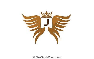 flügel , schutzschirm, krone, abzeichnen, j