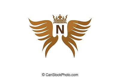 flügel , schutzschirm, krone, abzeichnen, n