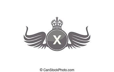 flügel , schutzschirm, krone, abzeichnen, x
