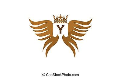 flügel , schutzschirm, krone, abzeichnen, y