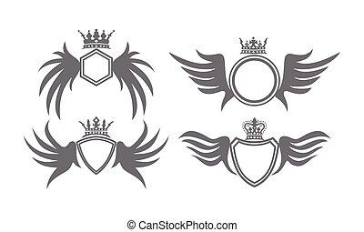 flügel , schutzschirm, krone, sammlung