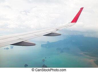 flügel , von, ein, motorflugzeug, fliegendes, oben, der, wasserlandschaft