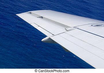 flügel , von, ein, motorflugzeug, oben, der, wasserlandschaft