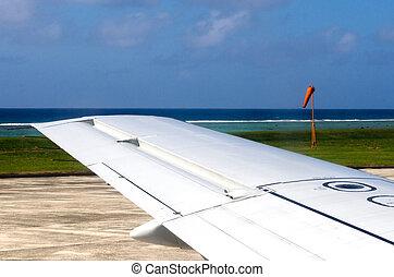 flügel , von, ein, motorflugzeug, während, starten, und, landung