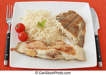 flądra, dosmażany ryż