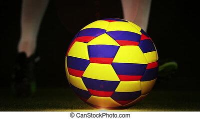 fl, football, colombie, joueur, donner coup pied