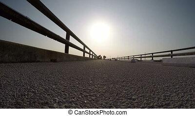 Fl Keys Seven Mile Bridge - Silhouettes of people walking on...