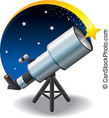 fl, stern, teleskop, himmelsgewölbe