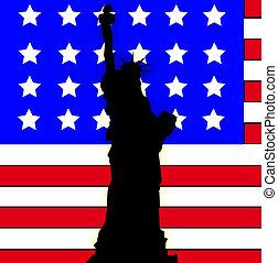 fla, américain, statue, liberté