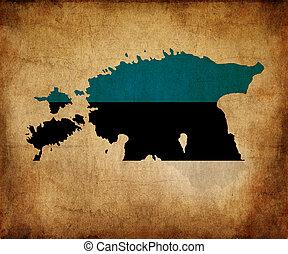 fla, carte, grunge, contour, estonie