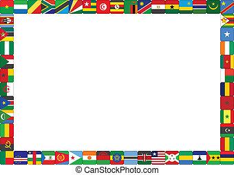 fla, ram, gjord, afrikansk, länder