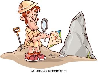 flachdrehen, landkarte, vektor, archäologen, abbildung