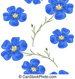 flachs, blaue blumen, mit, stem., seamless, pattern., vektor, illustration.