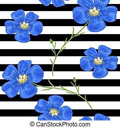 flachs, blaues, flowers., seamless, pattern., vektor, illustration., design, für, kräutertee, gesundheitspflege, produkte