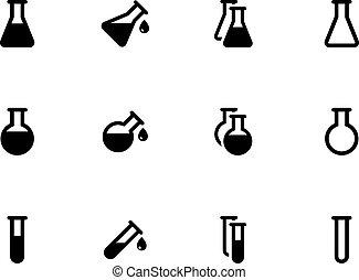 flacon, achtergrond., witte , laboratorium, iconen