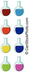 flacon, chimique, rond, rempli, différent, couleur