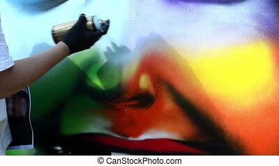flacon, dessiner, graffitti, homme