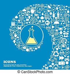 flacon, icône, ., gentil, ensemble, de, beau, icônes, tordu, spirale, dans, les, centre, de, une, grand, icon., vecteur