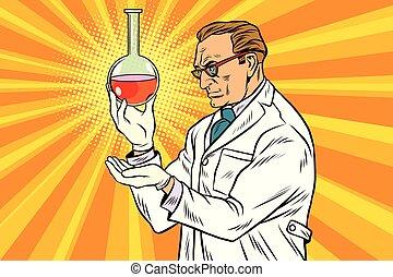 flacon, laboratoire, scientifique, chimiste, analyse
