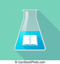 flacon, tube, long, chimique, livre, essai, ombre