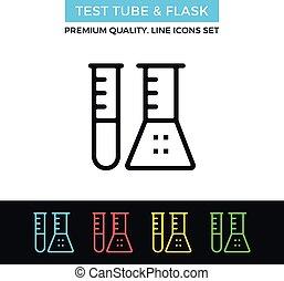 flacon, tube, vecteur, mince, essai, icon., ligne, icône