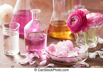 flacons, fleurs, ranunculus, ensemble, aromathérapie, ...