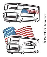 flag., アメリカ人, ベクトル, イラスト, バス