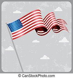 flag., アメリカ人, ベクトル, 波状, illustration.
