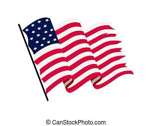 flag., シンボル, 背景, 国民, 振ること, 波状, ベクトル, -, america., 旗, アメリカ人, 米国, 白, イラスト
