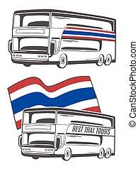 flag., タイ, ベクトル, イラスト, バス