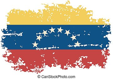 flag., ベクトル, グランジ, venezuelan, illustration.