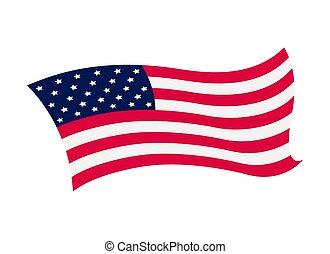 flag., 州, 合併した, イラスト, アメリカ人, 背景, -, ベクトル, 波状, 揺れている旗, 国民, america., シンボル, 白
