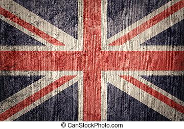 flag., 멋진, grunge, 기, texture., 결합, 영국, 잭