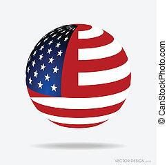 flag., 미국 영어, 벡터, illustration.