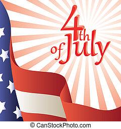 flag., -, 4ème, july., américain, vecteur, illustration