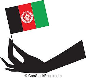 flag, afghan, hånd