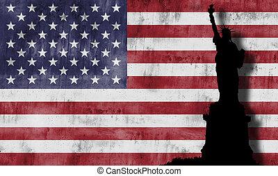 flag., américain, statue, liberté