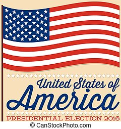 Flag American election card in vector format.