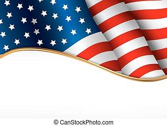 flag., americano, giorno, indipendenza, banner.
