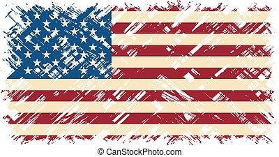 flag., americano, vettore, grunge, illustration.