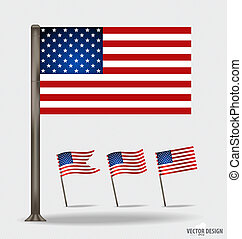 flag., americano, vettore, illustration.