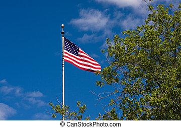 flag., amerikaan, strepen, sterretjes
