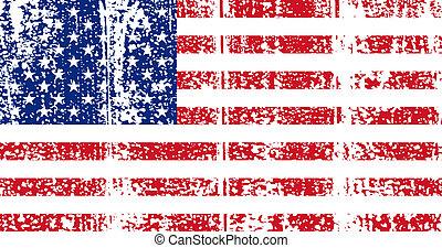 flag., amerikai, vektor, grunge, illustration.