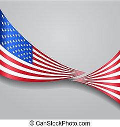 flag., amerikai, vektor, hullámos, illustration.