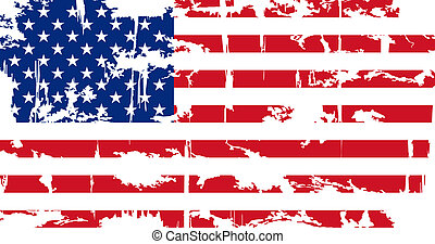 flag., amerikan, vektor, grunge, illustration.