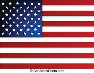 flag., amerikan, vektor, illustration.