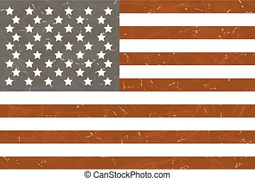 flag., amerykanka, wektor, grunge, illustration.