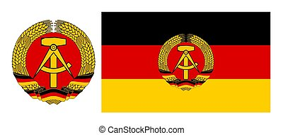 Flag and coat of arms east Germany