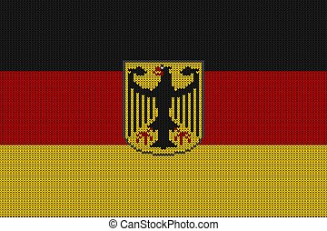 Flag and federal coat of arms of Germany on a vector knitted woolen texture. Knitted German flag and emblem creates seamless pattern