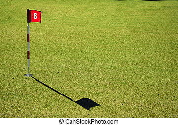Flag and Flagstick on a Golf Course Practive Green